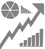 Business graph growth progress gray arrow — Stock Photo