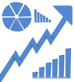 Business graph growth progress blue arrow — Stock Photo