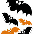 Halloween concept design with black and orange bat — 图库照片