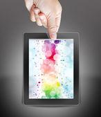 Mano dell'uomo d'affari holding e toccare il touchpad — Foto Stock