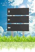 Panneau d'affichage panneau en bois sur l'herbe isolé sur ciel nuage arr.plans — Photo