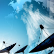 Stock Photo: Satellite dish transmission data