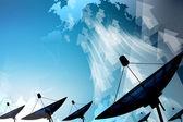 Satelliet schotel overdracht gegevens — Stockfoto