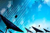 Satellite dish transmission data — Stock Photo