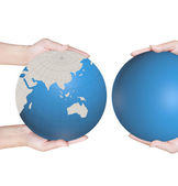 World in hands, global business on background white — Stock Photo