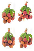 Lychee fruits red. Fresh lychees isolated on white background  — Stock Photo