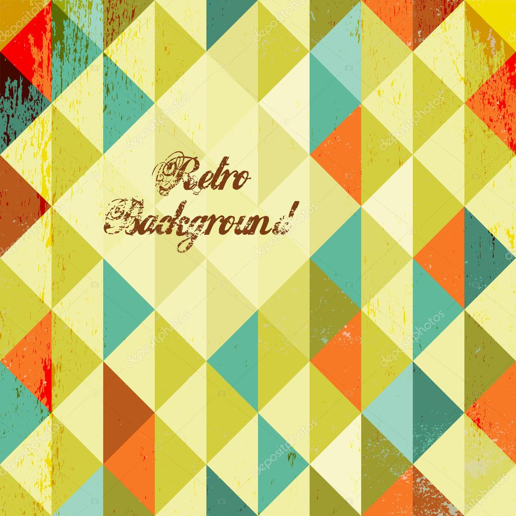 Abstract Retro Geometric Background With Clouds. Vector