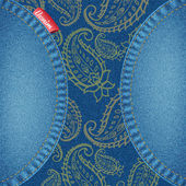 A blue denim and paisley background texture. — Stock Vector