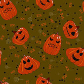 Halloween seamless background with pumpkin scary jack — Stock Vector