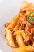 Pasta penne bolognese — Stock Photo