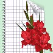 Page of a notebook with gladiolus — Stock Vector
