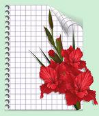 Página de un cuaderno con gladiolos — Vector de stock