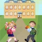 Pupils go in school — Stock Vector