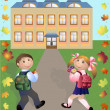 Royalty-Free Stock Vector Image: Children go in school