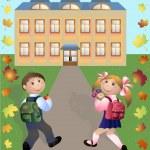 Children go in school — Stock Vector