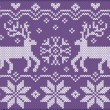 Knitted ornament with deers — Stock Vector