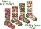 ニットの靴下。メリー クリスマスと新年! — ストックベクタ