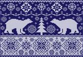Gebreide ornament met beren — Stockvector