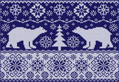 Knitted ornament with bears — Stockvector