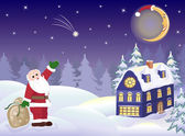 Santa Claus with gifts and moon — Stock Vector