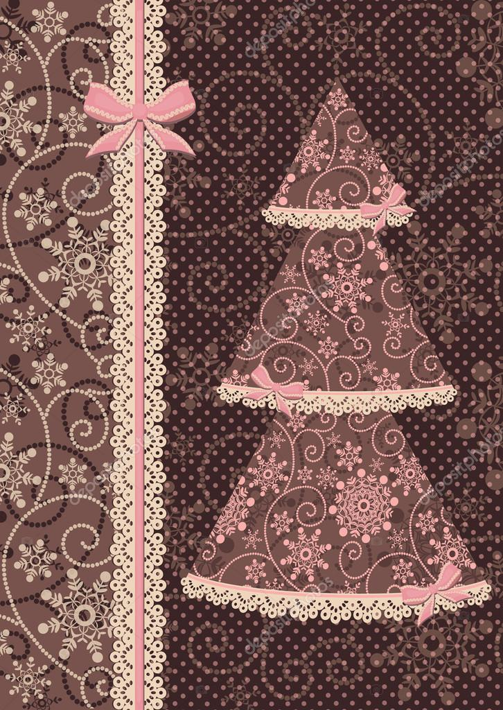 Retro style. Glamour Vintage the illustration with a New Year tree, decorated by laces. Congratulatory card. — ベクター素材ストック #17862463