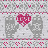 Knitted heart LOVE and mittens — Stock Vector