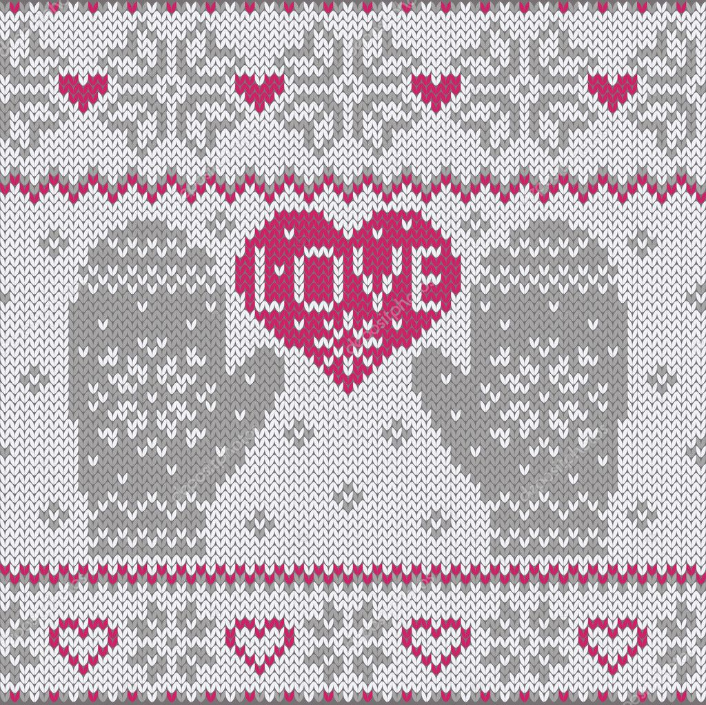 Knit Pattern Heart Mittens : Knitted heart LOVE and mittens   Stock Vector ? Olgart #17877759