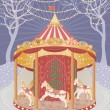Stock Vector: Holiday carousel with horses