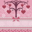 Sweethearts birds and tree. Holiday card. — Vektorgrafik