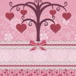 Αγαπημένοι πουλιά και δέντρο. κάρτα διακοπών — Διανυσματικό Αρχείο