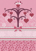 Sweethearts birds and tree. Holiday card. — Stockvector