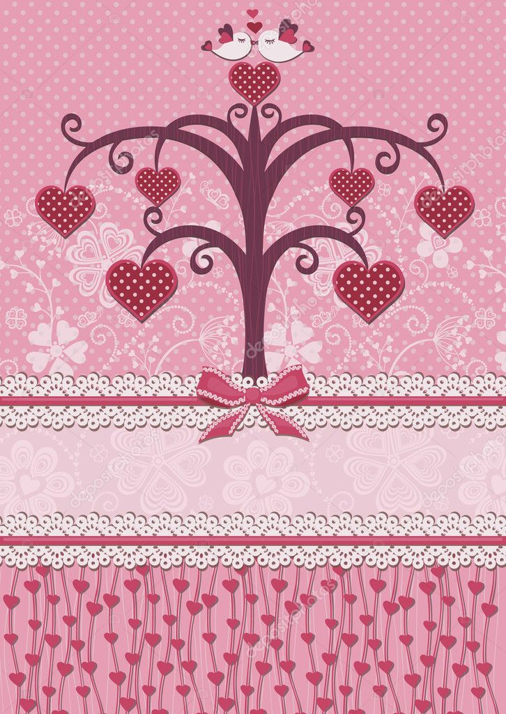 Valentine's Day illustration with a tree of love and kissing birds.  Retro style. Congratulatory card. — Stock Vector #18637137