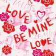 Seamless pattern: BE MINE LOVE — Stock Vector