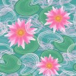 Seamless pattern with water lilies - Stock Vector