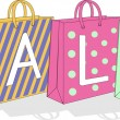 Bags with the text sale — Stock Vector