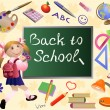 Girl goes back to school — Stock Vector