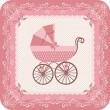 Stock Vector: Baby girl carriage
