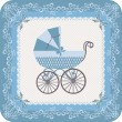 Stock Vector: Baby boy carriage