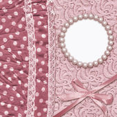 Vintage glamour background with dotted textile, with a tape. — Stock Photo