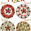 Step by step preparation of a pizza — Stock Photo