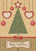 Karte mit weihnachtsbaum und gepunktete hintergrund — Stockvektor