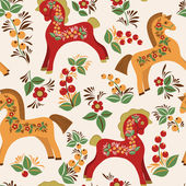 Seamless pattern with folk horses — Stock vektor