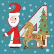 Santa Claus and horse. New year 2014. — Stock Vector