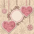 New Year hearts and frame — Imagen vectorial