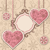 New Year hearts and frame — 图库矢量图片