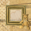 Vintage background with frame and Teddy bear — Stock Photo