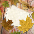 Autumn leaf with note — Stock Photo