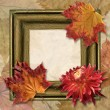 Frame with dahlia and autumn leaf — Stock Photo