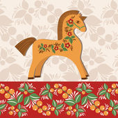 Greetings card with horse, decorated with folklore pattern 2 — Stock Vector