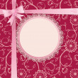 Gift card with lace frame and ribbon — Stockvektor